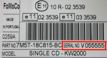 How To Find Your Ford V Serial Number Label On Your Radio.