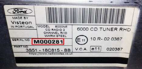 View The Ford Label To Find The M or V Serial Number