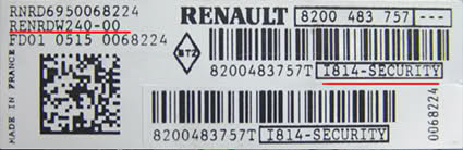 Renault Radio Code Serial Number Label
